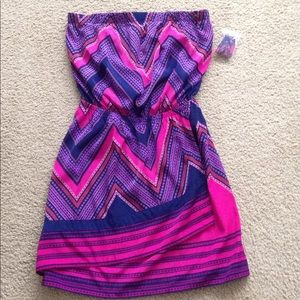 Express Strapless Print Dress Small